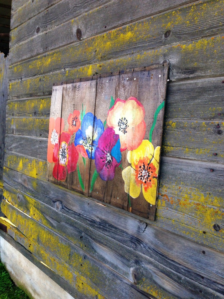 Reclaimed wood hand painted floral mural by AniVintage on Etsy, $140.00