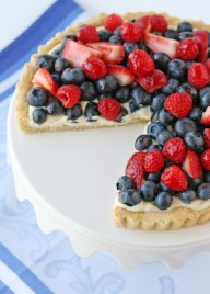 Summer Berry Tart Recipe. Cookie like crust and lemon cream cheese filling. Making this for 4th of July!